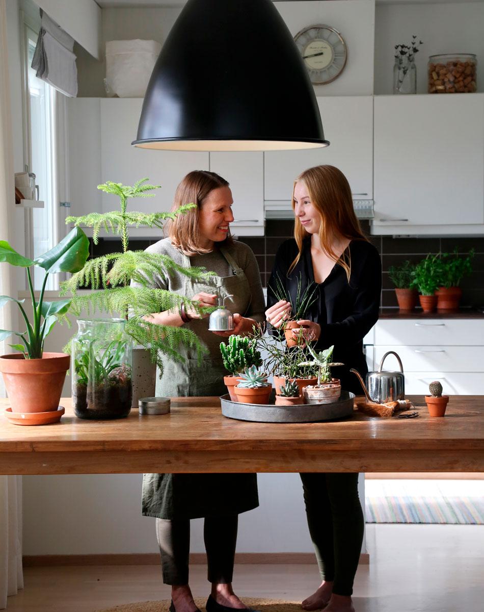 äiti ja tytär viherkasvien hoito ja istutus moderni vehreä koti
