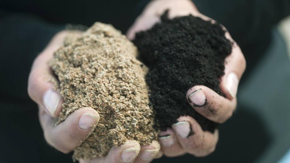 hiekka ja orgaaninen aines